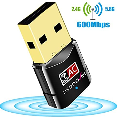 USBNOVEL Clé WiFi AC600 Dual Bande 5G 433Mbps 2.4G 150Mbps USB 2.0 Wifi Wireless Adaptateur, compatible avec Win 10/8/7/XP/Vista/2000/Mac Os X