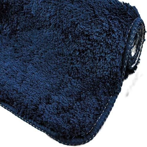 WohnDirect Badezimmerteppich | Badematte zum Set kombinierbar - kuscheliger Hochflor | Rutschfester Badvorleger | WC Garnitur - Waschbarer Badteppich - 50x80cm | Dunkelblau