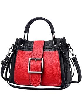 ZhiYuanAN Damen Litschi Stria PU Casual Handtasche 2 Stück Set Große Kapazität Multifunktion Tote Satchel Umhängetaschen