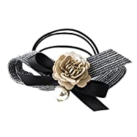 Haodou Stripe Bow Elastic Hair Ties Bobbles Bow Rhinestone Ponytail Holders Rubber Bands Stretchy Hair Ropes Hair Bands Hair Accessories for Women Girls Kids Men