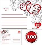 galleryy.net 100 Ballonflugkarten zur Hochzeit GELOCHT, Flugkarten für Hochzeitsballons im Set zum Hochzeitsspiel im Ballonflugkartenset - rote Herzen