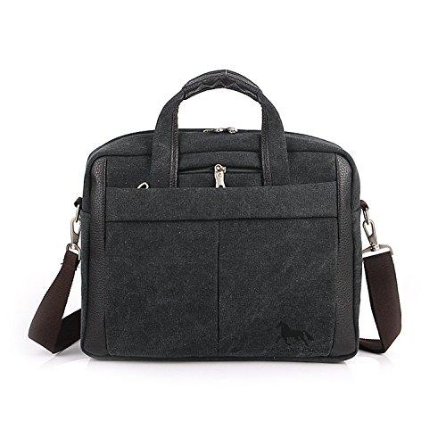 Outreo Herren Umhängetasche Kuriertasche Aktentasche Vintage Schultertasche Herrentaschen Retro Messenger Bag Canvas Taschen für Laptop Tablet Schule Reisetasche Handtasche Schwarz