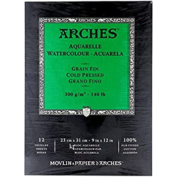 ARCHES 23 x 31 cm 300 gsm Cold Pressed Short Side Glued Pad Watercolour Paper - Natural White (Pack of 12 Sheets)