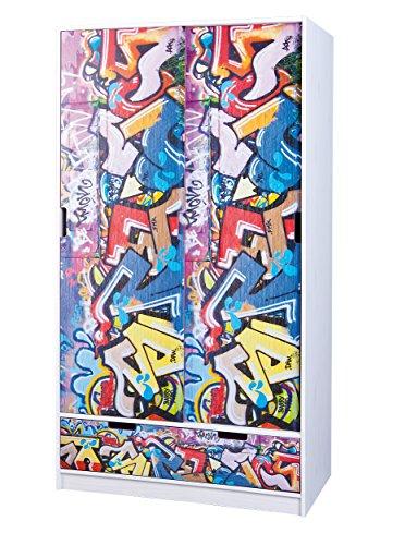Inter Link Armoire penderie à portes coulissantes motifs Graffiti certifiée FSC Pin massif vernis blanc / multicolore