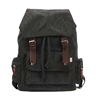 unisex vintage bag classic backpack casual canvas bag travel school shoulder Bag Bookbag ipad bag messenger bag for teenage girls/boys(Black3)