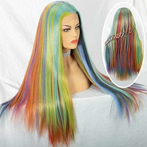 Cosswigs Mix 8 Color Lace Front Perücke Fashion Rainbow Heat Resistant Synthetic Hair Lace Wig for Women Glueless Half Hand Tied 24inches - Rainbow Lace