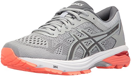 ASICS Women's GT-1000 6 Running-Shoes, Mid Grey/Carbon/Flash Coral, 5 D US (Asics Womens Shoes Athletic Grau)