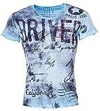 T-Shirt T Shirt Key Largo Herren Print V-Ausschnitt V-Neck Bedruckt Aufdruck Druck Vintage Männer Motiv kurzarm, Grösse:S;Farbe:Blau