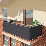 BALCONIO Balkon Sichtschutz wasserabweisend Balkonbespannung Balkonabdeckung für Balkon Terrasse aus Polyester 550 x 85 cm - ANTHRAZIT