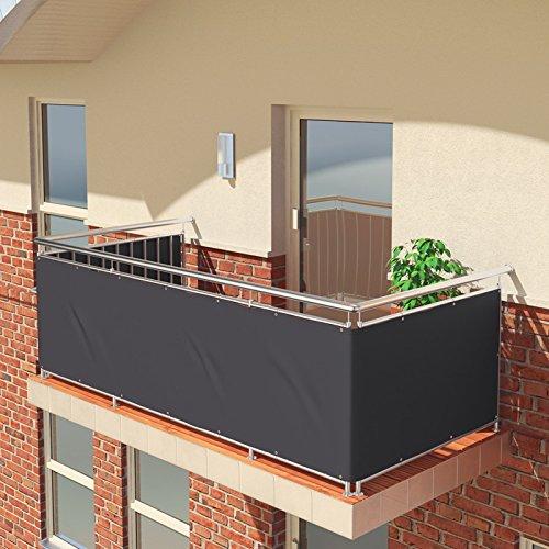 BALCONIO PREMIUM Balkonbespannung - 550 x 85 cm - ANTHRAZIT - wasserabweisend