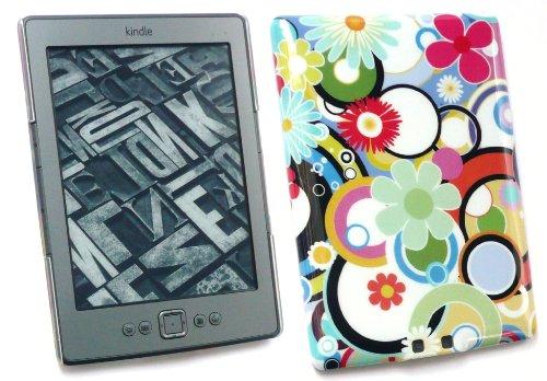 Emartbuy Value Pack Für Amazon All Neue Kindle 4 Lcd Screen Protector + Kompatiblen Micro Usb Auto Ladegerät + Kreisen Und Blumen Clip On Protection Case / Cover / Skin (Kindle-ladegerät Pack Neue)