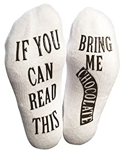 """Luxury Combed Cotton """"Bring Me Chocolate"""" Socks - Perfect Hostess or Housewarming Gift, Fun Birthday Present, or Funny Novelty Gag Christmas Gift For A Chocolate Lover"""