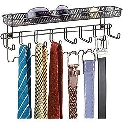 Perchero de pared con bandeja – Si está buscando percheros para recibidor este es un perchero original – Coloque sus accesorios como llaves, gafas, cartera …– Color: bronce