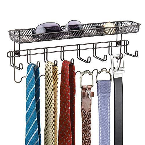 mDesign Wandgarderobe mit Ablage - praktischer Wandorganizer für Schlüssel, Brillen, Handys, Münzen etc. - auch als Krawattenhalter, Gürtelhalter & Schmuckhalter - Farbe: Bronze