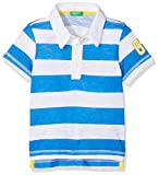 United Colors of Benetton Jungen Poloshirt H/S Polo Shirt, Mehrfarbig (White & Electric Blue Stripes 903), 1Y