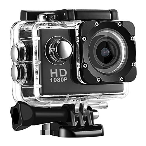 LANSKRLSP Sportkamera Wasserdicht, Action Cam Unterwasserkamera Tauchen (1080P/12MP/Unterwasser/30M Wasserdicht/900mAh Batterie) (Schwarz)