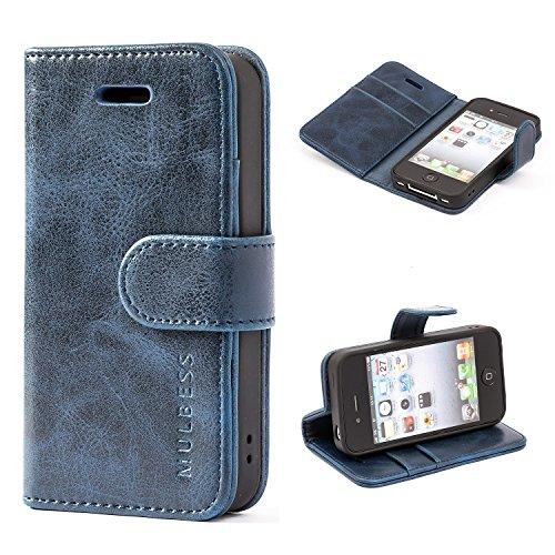 Mulbess Handyhülle für iPhone 4s Hülle, iPhone 4 Hülle, Leder Flip Case Schutzhülle für iPhone 4s Tasche, Dunkel Blau Apple Iphone 4s Leder