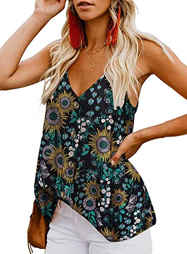 KOKOUK Women's Casual Vest Sleeveless V Neck Button Adjustable Strap Tank Tops Summer Casual Blouse Shirt Size Ankle Wrap Strappy