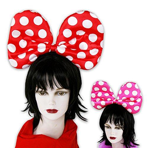 2er SET Haareifen Punkte Maus Ohren in pink oder rot (2er SET rot)