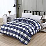 A literary youth Kinderbettwäsche Flanell,Bettbezug aus 100% Polyester Plant & Plaid Reactive Printing Trösterbezug Twin Full Queen King-12_150 cm x 215 cm