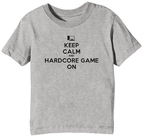 Keep Calm and Hardcore Game On Kinder Unisex Jungen Mädchen T-Shirt Rundhals Grau Kurzarm Größe XL Kids Boys Girls Grey X-Large Size XL