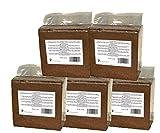 Brique de fibres de coco pressé 5 x 70 (350) litres, env. 5 kg (0,13 EUR par litre), terreau sans tourbe, 100% pure, brique d'humus