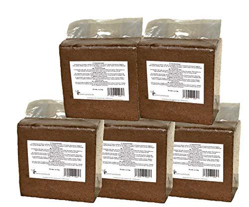 Kokosfaserziegel 5x 70 Liter, gesamt: 350 Liter, ca. 5kg je Ziegel (EUR 0,12 je Liter/EUR 8,59 je Ziegel)), Humusziegel, Kokosziegel, torffreie Anzuchterde, Kokosquellerde aus gepresster Kokosfaser