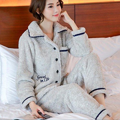 Bademäntel Mens Sleepwear Long Sleeves Pyjama Set mit Hosen Paar Bademantel 100% Flanell Frühling und Winter Paar Pyjamas Thick Hotel Robe Urlaub Nachtwäsche ( Color : Female/Gray , Size : XL ) -