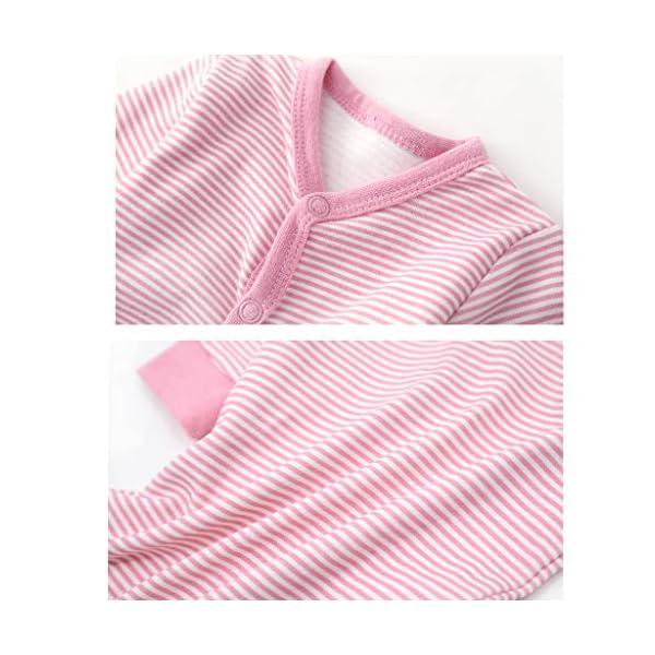 Bebé Niñas Mono Mameluco Manga Larga Infante Ropa de Dormir AlgodóN Pelele Raya Nube Rosado Pijama 4