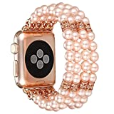 WETERS Apple Strap Damenmode Hand Elastic Stretch Künstliche Perle Schmuck Achat Vierreihige Ersatz Armband 38Mm-Iwatch Apple Series 3/2/1 Alle Versionen,Pink