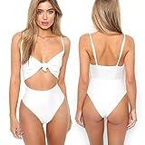 Hevoiok Elegant Damen Bikini Set Zweiteilig, Neue Mode Sexy Tanga Badeanzüge Push-up Figurformend Bademode Bikinis für Frauen Mädchen Bandeau Hoher Taille (Weiß, XL)