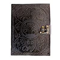 ‏‪CARVEx Black Leather Journal Tree of Life Handmade Writing Notebook 10x8 Inches Unlined Paper, Antique Leatherbound Daily Diary Notepad Sketchpad for Men & Women Gift‬‏