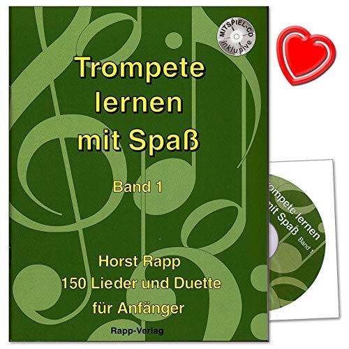 Trompete lernen mit Spaß Band 1-150 Lieder und Duette - auch geeignet für Tenorhorn, Bariton, Euphonium im Violinschlüssel - Unterrichtswerk für Anfänger mit CD, bunter herzförmiger Notenklammer