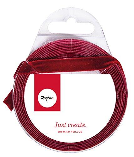 Rayher 55815297 Ruban velours, rouge Bourgogne