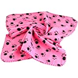 Generic Warm Red Fleece Blanket Pet Dog Paw Print Pattern Soft Bed Mat--M