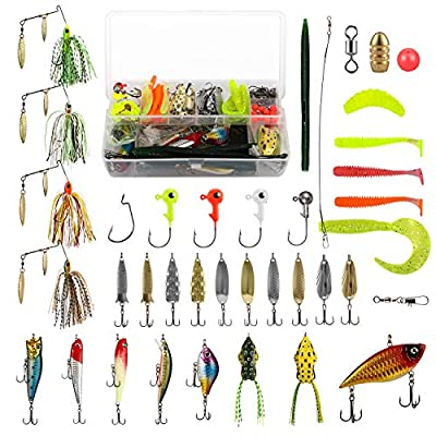 Magreel Fishing Lures Kit 110pcs Fishing Baits Kit Set with Tackle Box Including Crankbaits, Spinnerbaits, Fishing Spoons, Topwater Frog, Swimbaits, Rubber Worms, Jigs, Fishing Hooks