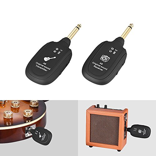 HJL&XD UHF Guitar Wireless System Transmitter Receiver Built-in Rechargeable Lithium Battery Max. 50M Transmission Range for Electric Guitar Bass