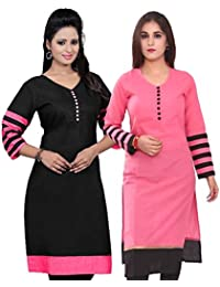 Poplin Fully Stitched Cotton Fabrics Multi Colored Combo Kurtas Pack Of 2 For Women & Girls In Low Price [Buy...