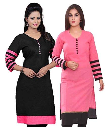 Poplin Women's Cotton Multi Colour Kurta (Poplin-Office-Kurti-Combo-Pkblk-01_Free Size)