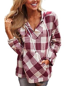 Zojuyozio Las Mujeres Verano Casual Long Sleeve Plaid Hoodie T Shirt Top Tee, Plus Size