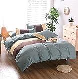 HTST Einfache Gestreiften bettwäsche Polyester Schlafzimmer flachblech Nicht verblassen Bettbezüge Geschenk 3 stücke, 005, 200x200cm
