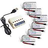 Wwman 6pcs 3.7V 780mah baterías y 1to6 cargador de batería para UDI U45 U42 U42W SYMA X5SW X5SC Rc Quadcopter Drone piezas de repuesto
