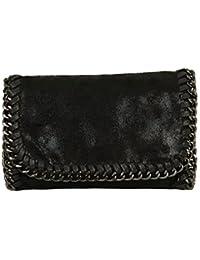 Handtasche VIVIEN Lederlook Damen Schwarz Schultertaschen Kette (Black 07)