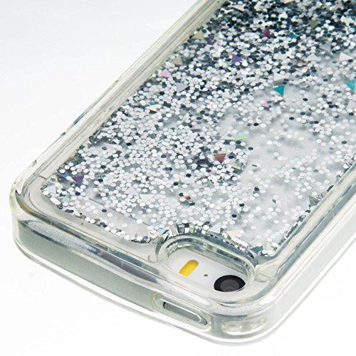 Valentin Coque iPhone SE 5S 5C Liquide Glitter Quicksand Soft TPU Retour Housse pour iPhone 5 5s 5c Rose Silver