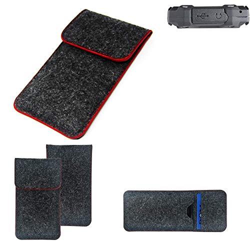 K-S-Trade® Filz Schutz Hülle Für Simvalley Mobile SPT-210 Schutzhülle Filztasche Pouch Tasche Case Sleeve Handyhülle Filzhülle Dunkelgrau Roter Rand