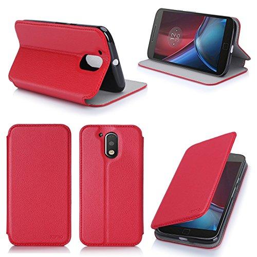 Lenovo Motorola Moto G4 PLUS 2016 5.5 zol 4G/LTE Dual Sim l Tasche Leder Hülle rot Cover mit Stand - Zubehör Etui shell smartphone Lenovo Moto G 4 PLUS (4 generation) Shell Flip Case Schutzhülle (PU Leder, Handytasche Red) - XEPTIO accessories