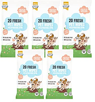 100 Goodboy Anti Bacterial Peach Scented Dog Puppy Pet Wipes from ARMITAGE
