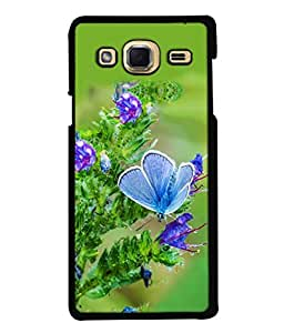 PrintVisa Designer Back Case Cover for Samsung Galaxy J3 (6) 2016 :: Samsung Galaxy J3 2016 Duos :: Samsung Galaxy J3 2016 J320F J320A J320P J3109 J320M J320Y (Animals Blue Beauty Flower Blossom Bright Beautiful Butterfly)