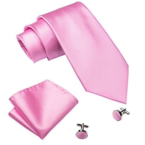 Juego de corbata, gemelos y pañuelo formal de Barry Wang Rosa rosa Talla única