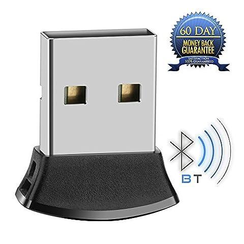 Whitelabel Nano Émetteur et Récepteur Bluetooth 4.0 USB Adaptateur avec Vitesse de Transmission de 3 Mo/s Idéal Pour Système D'exploitation Windows 10 / 8.1 / 8 / 7 / Vista - Compatible avec un Casque Stéréo Bluetooth et D'autres Périphériques Bluetooth (Micro)